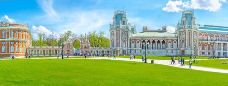 MOSCOW, RUSSIA - MAY 10, 2015: The Tsaritsyno Royal Residence is one of the most interesting city landmarks, fine place to spend here day, enjoying landmarks and nature, on May 10 in Moscow.