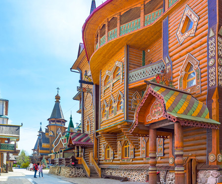 MOSCOW, RUSSIA - MAY 10, 2015: The splendor of traditional medieval Russian Architecture with various decors, carved and painted details, on May 10 in Moscow.