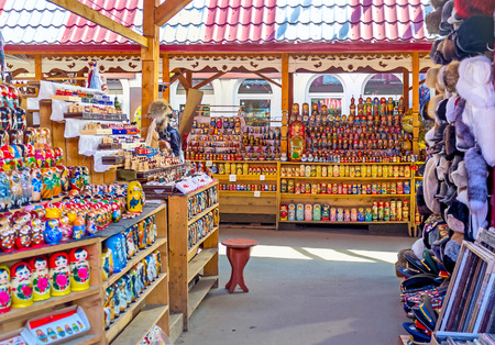 MOSCOW, RUSSIA - MAY 10, 2015: The Izmailovsky Market is the best place to choose matryoshka doll for each taste and price, on May 10 in Moscow.