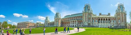 palacio ruso: MOSCOW, RUSSIA - MAY 10, 2015: The facade of the Grand Palace of Tsaritsyno Royal Estate with the green lawn on wide square in front of it, on May 10 in Moscow. Editorial