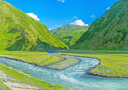 The confluence of Jutistskali and Snostskali rivers in Sno valley, Kazbegi, Georgia. Reklamní fotografie