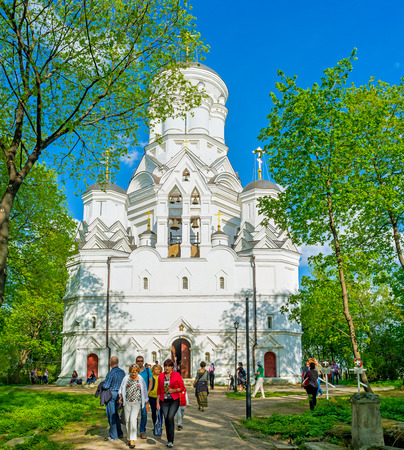 MOSCOW, RUSSIA - MAY 10, 2015: The white facade of Church of John the Baptist, located at the top of Dyakovo hill in Kolomenskoye Royal Estate, on May 10 in Moscow.