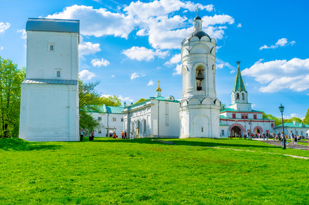 MOSCOW, RUSSIA - MAY 10, 2015: Kolomenskoye Manor boasts numerous historic, religious and archaeologic landmarks, located on the green hills and surrounded by gardens, on May 10 in Moscow.