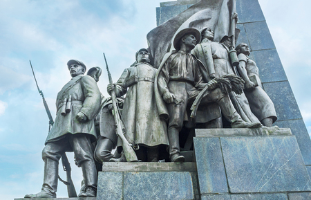 revolutions: The statue group representing social changes after the revolutions in Soviet Union, located at Taras Shevchenko Monument, Kharkov, Ukraine. Editorial