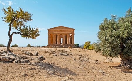 concordia: The Temple of Concordia is one of the most notable edifices of the Greek civilization, preserved in Valley of Temples, Agrigento, Sicily, Italy. Stock Photo