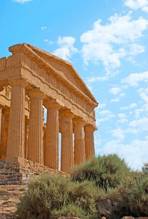 colonade: The facade of Concordia Temple with huge Doric colonade and preserved friezes, Agrigento, Sicily, Italy.