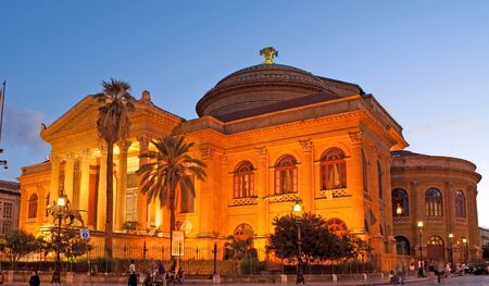 verdi: PALERMO, ITALY - OCTOBER 2, 2012: The  evening view of Teatro Massimo - Opera and Ballet Theater in Verdi Square, on October 2 in Palermo.