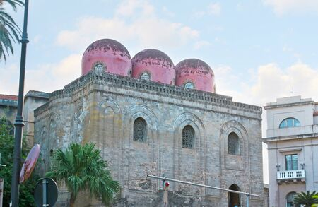 The medieval unfinished San Cataldo church is the fine example of Norman-Arabic architectural mix, located in Bellini Square, Palermo, Sicily, Italy.