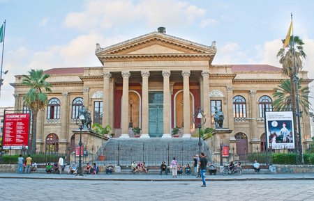 verdi: PALERMO, ITALY - OCTOBER 2, 2012: The facade of Opera and Ballet Theater (Teatro Massimo), located in Verdi Square, on October 2 in Palermo. Editorial