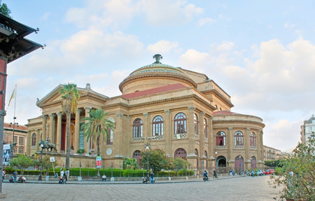 verdi: PALERMO, ITALY - OCTOBER 2, 2012: The  Opera and Ballet Theater (Teatro Massimo) is one of the most beautiful buildings of the city, located on Verdi Square, on October 2 in Palermo.