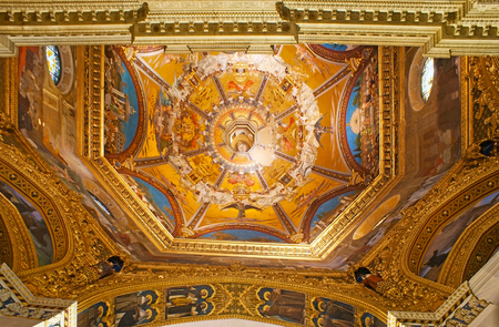 LORETO, ITALY - OCTOBER 6, 2012: The painted cupola of Basilica of Santa Casa, the famous Shrine of the Holy House of Virgin Mary, on October 6 in Loreto.