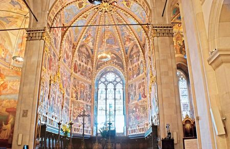 grecas: LORETO, ITALY - OCTOBER 6, 2012: The rich decor od the Chapel in Basilica of Santa Casa, with painted icons, fretwork and gilt patterns, on October 6 in Loreto.