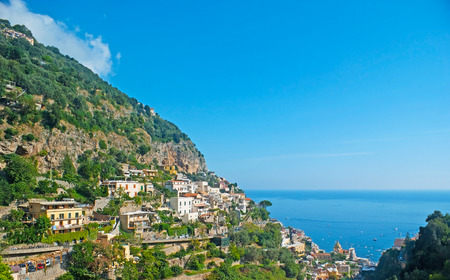 occupied: The rocky slopes of Lattari Mountains and  the coast occupied b villas of Positano resort, Italy.