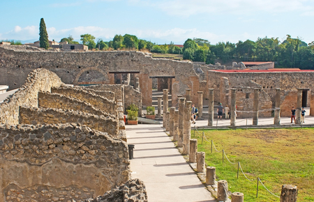 POMPEII, ITALY - OCTOBER 4, 2012: The ruins of gladiators houses around the Quadriporch, on October 4 in Pompeii.