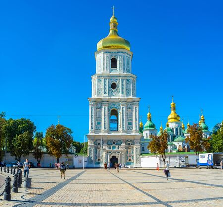 KIEV, UKRAINE - SEPTEMBER 8, 2016: The medieval bell tower of St Sophia Cathedral complex, one of the most amazing monuments of Kievan Rus, on September 8 in Kiev. Editorial