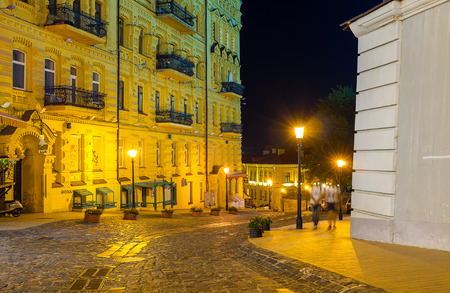 KIEV, UKRAINE - SEPTEMBER 11, 2016: The Andrews descent becomes peaceful and quiet street at night, on September 11 in Kiev. Editorial