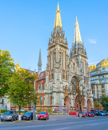 KIEV, UKRAINE - SEPTEMBER 18, 2016: The facade of St Nicholas Roman Catholic Cathedral, built by the famous architect V Gorodetsky, on September 18 in Kiev.