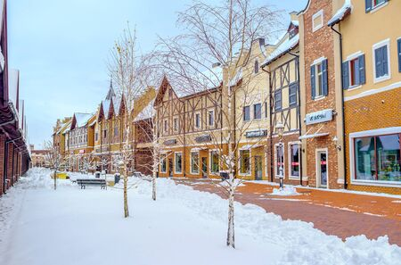 KIEV, UKRAINE - NOVEMBER 11, 2016: The Dutch Revival style  outlet city is the nice place enjoy the shopping and winter weather, on November 11 in Kiev.