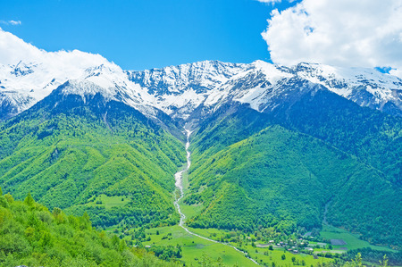 water sources: The Upper Svaneti is famous for its highlands, mineral water sources, medieval architecture, various routes for hikers, Georgia.