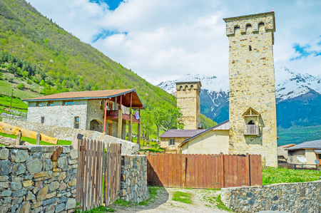 mestia: Traditional Svan towers attracts tourists to visit Svaneti, enjoy local nature, history, art, architecture and hospitality, Mestia, Georgia.