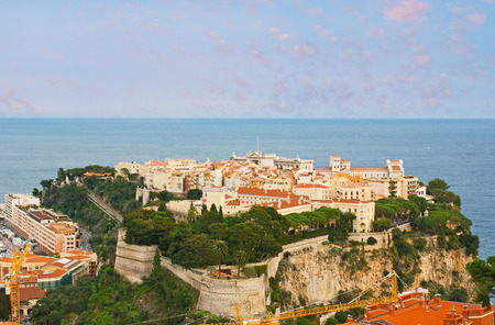 The oldest quarter of Monaco, named Monaco-Ville located on the Rock at the Mediterranean sea coast and surrounded by preserved parts of the citadel wall.
