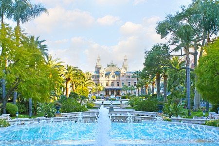 garnier: The gardens of Monte Carlo with shady alleys, scenic fountains and fresh air are the best place to relax and enjoy the views of Salle Garnier - Opera of Monaco and famous Casino.