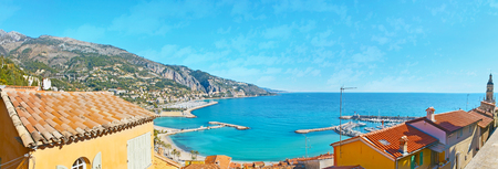 menton: The Old Castle Hill of Menton is the best place to enjoy the Cote dAzur with its beaches, ports, green mountain slopes and red tile roofs, France. Stock Photo