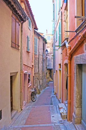menton: The old town of Menton is full of the narrow winding streets, and hilly backstreets with colorful mediterranean houses, France.