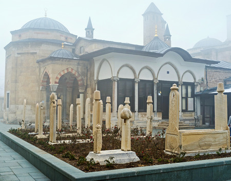 The Mevlana Mausoleum is the place of historical, architectural and religious interest, so tourists and  pilgrims all over the world enjoy its beauty and spirit, Konya, Turkey. Editorial