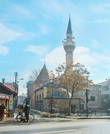 KONYA, TURKEY - JANUARY 20, 2015: The old town boasts a lot of mosques and mausoleums as the medieval capital of Seljuk Sultanate, on January 20 in Konya.
