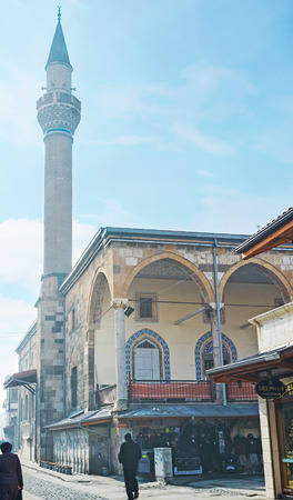 KONYA, TURKEY - JANUARY 20, 2015: The Kapi Camii is the Grand Mosque of Konya, located in the middle of renovated historic bazaar, on January 20 in Konya.