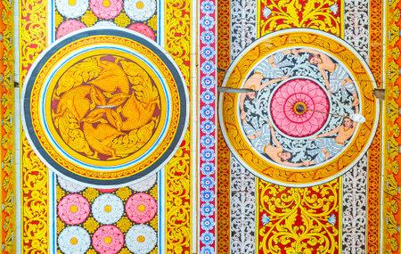 ANURADHAPURA, SRI LANKA - NOVEMBER 26, 2016: The ceiling decors of Isurumuniya Rock Temple - colorful Buddhist patterns and medallions, on November 11 in Anuradhapura. Editorial