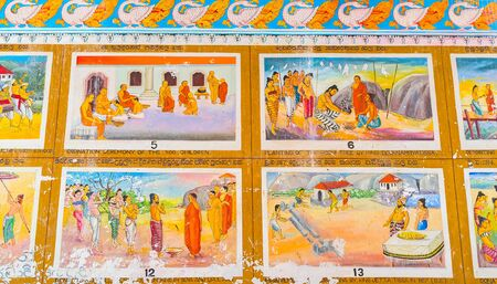 ANURADHAPURA, SRI LANKA - NOVEMBER 26, 2016: The old preserved wall paintings in Isurumuniya Rock Temple, on November 11 in Anuradhapura.