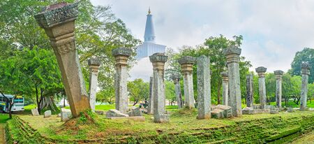 Panorama of the ancient foundation of Stupa House with preserved vatadage pillars with carved patterns on capitals, Anuradhapura, Sri Lanka. Zdjęcie Seryjne