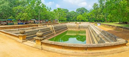 The archaeological site of Kuttam Pokuna - Twin Pools - the bathing tanks in Sacred City of Anuradhapura, Sri Lanka.