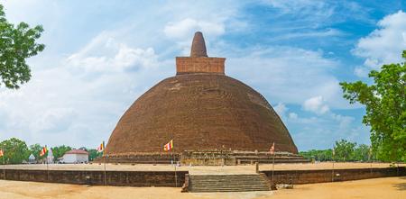 Panorama of Abhayagiri Dagaba, ancient monastic site and place of Buddhist worshipers pilgrimage, Anuradhapura, Sri Lanka.