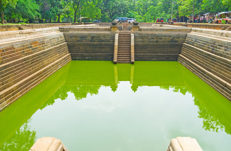 temple tank: The Twin Pools archaeological site is famous among tourists, visiting Anuradhapura, Sri Lanka. Stock Photo