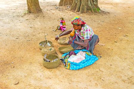 charmer: ANURADHAPURA, SRI LANKA - NOVEMBER 26, 2016: The performance of snake charmer with two cobras in baskets in Mahamevnawa Park, on November 26 in Anuradhapura.