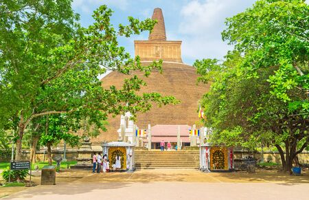 ANURADHAPURA, SRI LANKA - NOVEMBER 26, 2016: The main entrance to Abhayagiri Vihara, important monastic complex among the Buddhist worshipers, on November 26 in Anuradhapura.