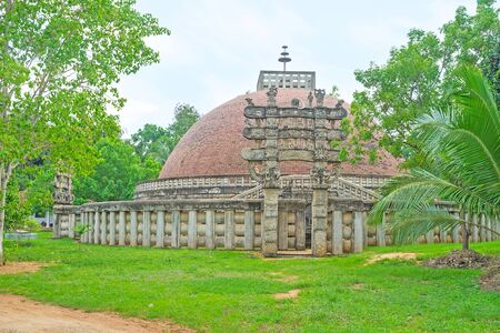 The replica of the Great Indian Sanchi Stupa, located in Mihintale, Sri Lanka.