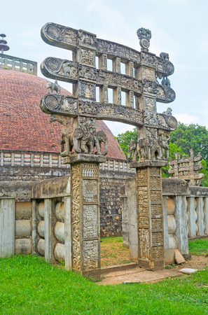 toran: The Torana Gates of Stupa, located in Mihintale are replicas of Great Sanchi Stupa, preserved since ancient times, Sri Lanka.