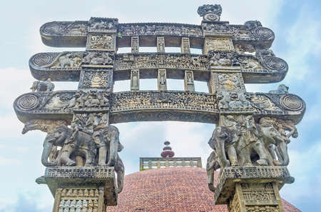 The Torana Gate of Stupa in Mihintale with figures of elephants and complex reliefs, Sri Lanka. Editorial