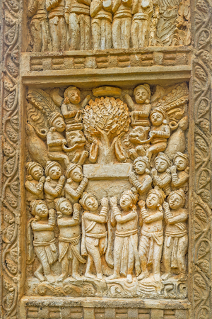 Relief of Torana gateway of Mihintale Stupa, the replica of Great Stupa in Sanchi, panel depicts the worshipers at the Bodhi Tree, Sri Lanka.