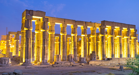 The numerous huge columns are the preserved part of the Luxor Temple, Egypt.