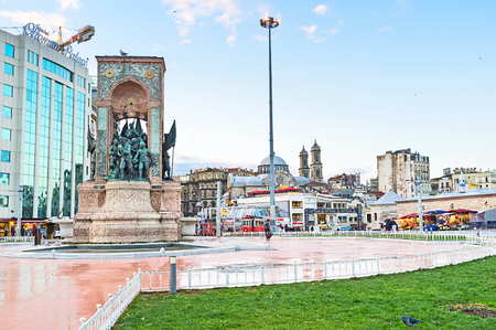 ISTANBUL, TURKEY - JANUARY 13, 2015:The Republic Monument is a notable landmark, located at Taksim Square, to commemorate the formation of the Turkish Republic, on January 13 in Istanbul.