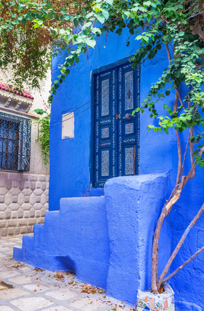 Some quarters of Sousse Medina boast colorful houses with unusual doors, Tunisia.