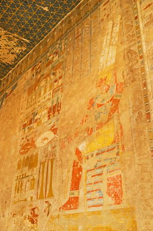 eligion: The bad preserved frescoes in Hatshepsut Temple depict the story of the divine birth of a female pharaoh, Luxor, Egypt.