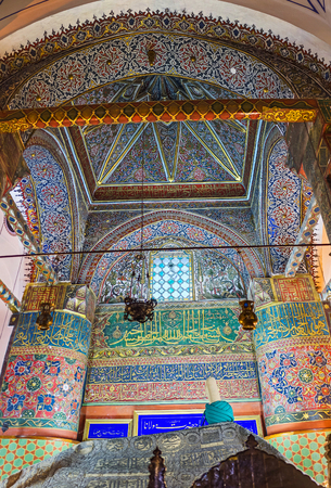 KONYA, TURKEY - JANUARY 20, 2015: The  Mevlana Mausoleum is the most famous landmark of the city, tourists and pilgrims all over the world visit it, on January 20 in Konya.