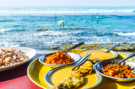 The fish curry is the best dinner at the ocean's coast of Ahangama resort, Sri Lanka. 免版税图像