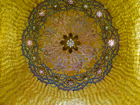 flagellation: JERUSALEM, ISRAEL - FEBRUARY 16, 2016: The cupola in the Church of the Flagellation decorated with mosaic crown of thorns on the golden background, on February 16 in Jerusalem.